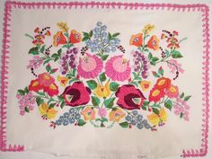 Vintage Hungarian Kalocsa Hand Embroidered Pillowcase Floral Colorful Cotton  #HandmadeHungarianKalocsa