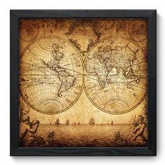 Quadro Decorativo - Mapa Antigo - 006qdd                                                                                                                                                                                 Mais