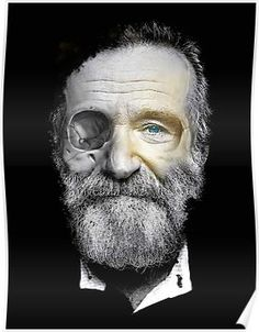 'Robin Williams ' Poster by FancyRobot Robin Williams Poster<br> Dead, Robin Williams, Skull, Zombie Old Man With Beard, Old Man Face, Robin Williams, Portrait Photography Men, Actors Male, Black And White Portraits, Photo Reference, Male Face, Real People