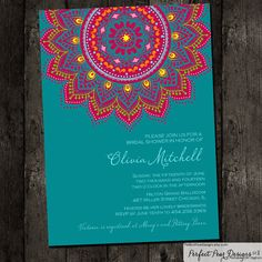 Bridal Shower Invitation, Inspired by traditional Indian saris henna moroccan elegant formal ethnic - teal pink gold rasberry orange yellow. Moroccan Party, Moroccan Theme, Indian Invitations, Bridal Shower Invitations, Wedding Card Design, Wedding Cards, Mehndi Party, Mehendi, Teal And Pink