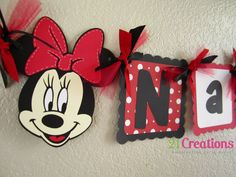 Minnie Mouse Name Banner in Red by 21CreationsToo on Etsy