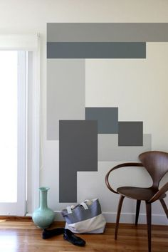 Geometric wall paint - 40 Easy DIY Wall Painting Ideas For Complete Luxurious Feel – Geometric wall paint Colour Blocking Interior, Color Blocking, Geometric Wall Paint, Modern Wall Paint, Modern Wall Decals, Geometric Decor, Geometric Patterns, Graphic Patterns, Abstract Wall Art