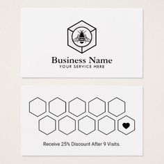 Loyalty Card | Minimalist Honey Bee Logo Logo Bee, Bee Shop, Business Names, Business Logo, Hairstylist Business Cards, Bee Design, Print Layout, Home Logo, Custom Cards