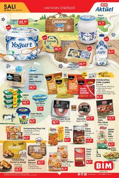 """6 Nisan ve 12 Nisan 2021 tarihleri arasında tüm BİM marketlerde geçerli """"Haftanın Önerileri"""" broşürü 2 sayfadan oluşmaktadır. 6 Nisan tarihli BİM broşürü gıda ürünlerinden oluşmaktadır. #bim #bimaktüel #broşür #katalog #indirim #aktüelürünler Kefir, Yogurt, Food, Can, Essen, Meals, Yemek, Eten"""