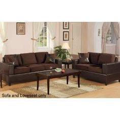 Bobkona Seattle Microfiber Sofa and Loveseat 2-Piece Set in Chocolate Color $725.29