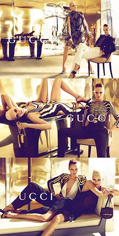 Spring 2012 Gucci.  Models: Karmen Pedaru, Abbey Lee, and Greg Nawrat. Photographer: Mert and Marcus.