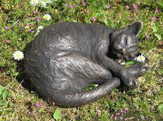 Curled Maxim Sleeping Cat Sculpture