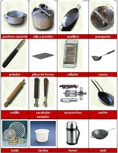 1000 images about ele vocabulario on pinterest spanish for Utensilios de cocina antiguos con nombres