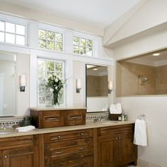 would LOVE to have these windows above our vanity/sinks mirror! Boston Bathroom Half Wall Design, Pictures, Remodel, Decor and Ideas:
