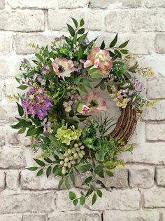 Spring Wreath Silk Floral Wreath Front Door by AdorabellaWreaths