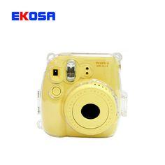 New Transparent Plastic Fuji Fujifilm Instax Mini 8 Camera Case Cover Protect Camera Bag + Camera Strap Free Shipping