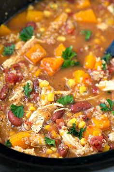 The EASIEST plus healthy crockpot butternut squash, chicken, and quinoa soup//use big dose of fajita spice, then some onion powder, herbs de Provence, oregano, lowery'