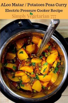 Leran how to make Aloo Matar in Instant Pot. It is a yummy & easy Indian curry. It's Vegan & glutenfree. Aloo is Potato & Matar is Peas. Watch the Detailed Instructional Video. Aloo Recipes, Veg Recipes, Curry Recipes, Indian Food Recipes, Whole Food Recipes, Vegetarian Recipes, Aloo Matar Recipe, Dhal Recipe, Vegetarian Stew