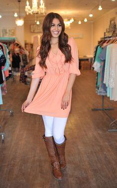 Dottie Couture Boutique - Ruffle Dress- Peach, $46.00 (http://www.dottiecouture.com/ruffle-dress-peach/)