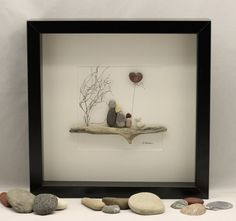 Pebble art picture of family of three and dog unique family