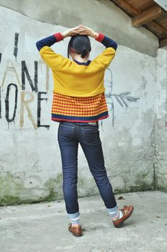 Contrast colour jumper with decorative flaps  // Hand machine knit // via Etsy.