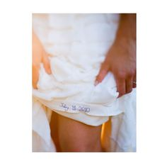 Wedding date embroidered on the inside of my wedding dress in blue, for my something blue
