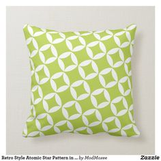 Retro Style Atomic Star Pattern in Lime Green Throw Pillow Lime Green Cushions, Green Throw Pillows, Green Theme, Green Colors, Decorative Cushions, Star Patterns, Vintage Green, Custom Pillows, Retro Fashion