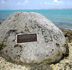 "07 Oct 43: Rear Admiral Shigematsu Sakaibara, commander of the Japanese garrison on Wake Island, orders the execution of 98 American civilian contractors held since the island was taken on 24 Dec 41, claiming they were trying to make radio contact with US forces. They are blindfolded and shot in cold blood. The ""Wake Island Massacre"" remains one of the more brutal episodes of the war in the Pacific. (photo: the ""98 rock"") More: http://scanningwwii.com/a?d=1007&s=431007 #WWII"