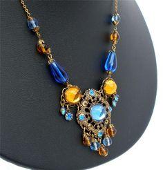 Marked Austria Lavalier Glass Bead Rhinestone Blue Citrine Necklace Vintage   eBay