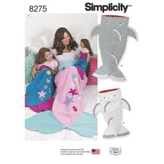 """SIMPLICITY 8275. Pattern includes mermaid tail for child, adult and 18"""" doll, and shark tail for child and adult. Simplicity sewing pattern. Mermaid Tail Blankets. Details: Hover you mouse over the photos at the top of this page to zoom in on the pattern envelope front & back."""