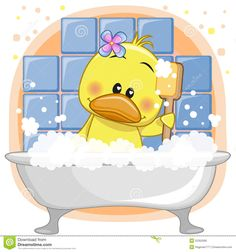 Imagens, fotos stock e vetores similares de Cute cartoon Teddy Bear in the bathroom - 644945977 Duck Drawing, Duck Cartoon, Blue Nose Friends, Baby Room Art, Baby Ducks, Baby Album, Baby Animals, Cute Animals, All Things Cute