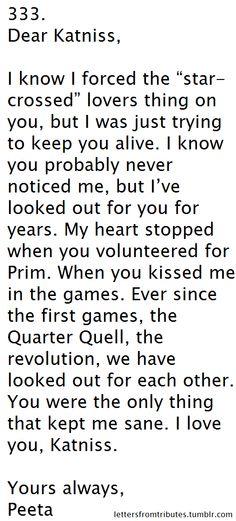 Peeta to Katniss Fan Letters