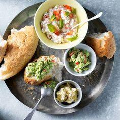 Turksbrood met drie 'lemon pepper' dips