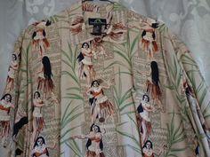 Vintage shirt Hawaiian man's beige ladies by vintagewayoflife
