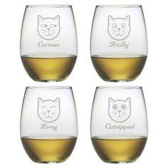 Feline Faces Stemless Wine Glass
