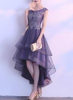 Grey purple high low round neckline party dresses cute party dresses bemybridesmaid ball gown v neck spaghetti straps prom dresses with pockets quinceanera dresses this dress could be custom made there are no extra cost to do custom size and color Elegant Dresses, Beautiful Dresses, Formal Dresses, Dresses Dresses, Long Dresses, Dresses Online, Dresses Near Me, Dresses For Work, Prom Dresses 2018