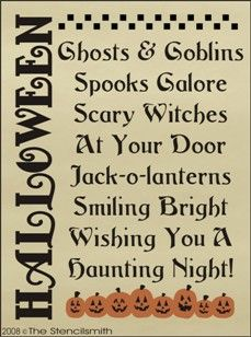 6 - Halloween Poem-stencil Halloween Poem ghost goblins at your door scary witches jack-o-lanterns smiling bright spook