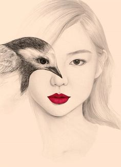 The Girl and The Birds Drawings Based in Seoul, South Korea, OkArt is an artist passionate by birds and poetry. On her sheets, she draws portraits of young women whose head is covered by little birds. Sometimes she creates a double exposure effect combining the eye's model with the of the bird. To discover in images.
