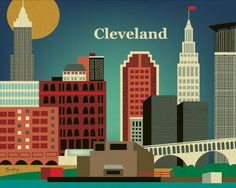 Cleveland, Ohio Skyline Poster Print Wall Art for Home, Office, and Nursery Rooms - style - E8-O- CLE. ] via Etsy.
