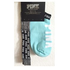 VS PINK Socks Adorable bundle of one pair of Victoria's Secret baby blue ankle socks and a Victoria's Secret PINK headband. Both brand new and in original packaging! •No Damages•No Trades•No PayPal• PINK Victoria's Secret Accessories Hosiery & Socks
