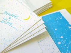 """I've had a thing for constellations, well, pretty much forever – so naturally, I'm completely in love with these constellation-inspired engagement party invitations by The Hungry Workshop. Simon and Jenna from The Hungry Workshop were inspired by the clients' description of the night as a """"celebration with friends under the stars,"""" incorporating shooting star details …"""