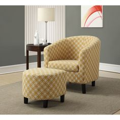 Barrel-shaped and well padded, this sleek, comfortable accent chair is the perfect place for an intimate conversation or for reading a book. Paired with an elegant ottoman, the chair features a lattice pattern and an upbeat yellow color.
