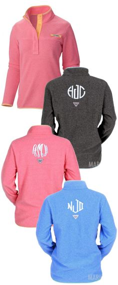 Is this real life? Get in my closet. Monogrammed Columbia Harborside Fleece Pullover from Marleylilly.com! Wear it with a pair of your favorite leggings and you are good to go! #Preppy