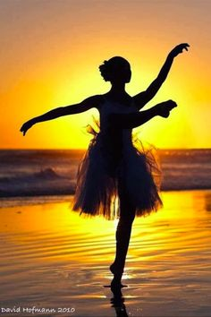 Sunset dancer silhouetted on a California beach • photo: David Hoffman
