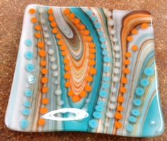Fused glass plate from dot night