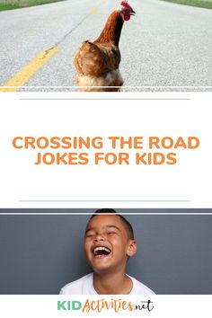 "A collection of funny cross the road jokes including, ""Why did the chicken cross the road? Kid Jokes, Funny Jokes For Kids, Silly Jokes, Funny Knock Knock Jokes, Brain Teasers For Kids, Funny Riddles, Cheesy Jokes, Kids Laughing, The Body Shop"