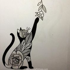Rose cat tattoo design by Betty Rose #BettyRose #cat #kitten #rose #flower (Photo: Instagram)