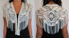 Vintage 80s ART DECO White Beaded Shawl CAPELET Collar. $89.00, via Etsy.
