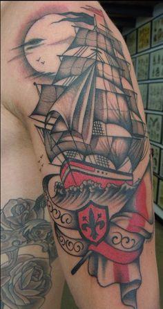 tattoos, boat, ship, sail