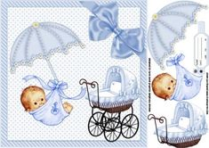 8x8 New baby boy on Craftsuprint designed by Carol Smith - an 8x8 topper sheet for the new baby boy or baby shower, has the new bundle of joy hanging on a flower decorated umbrella with an antique looking pram finished off with a big blue satin bow, baby ankle tag provided for you to place babies name weight and DOB, - Now available for download!