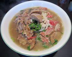Pho tai gan sach bo vien (Beef Noodles Soup with Rib Eye, Tendon, Tripe and Meatballs).  My son's favorite soup dish!!
