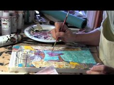 Using Tissue Paper and Stencils to Add Texture on a Mixed Media Canvas. Stencils by StencilGirl. Video by Jessica Sporn
