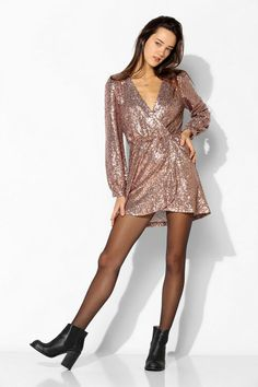 Honey Punch Sequin Surplice Dress #urbanoutfitters