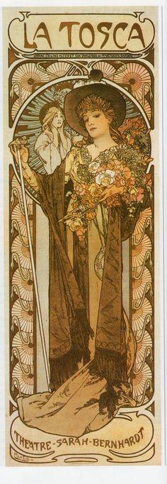 ❤ - Alphonse Mucha   Poster for 'La Tosca' - 1899.