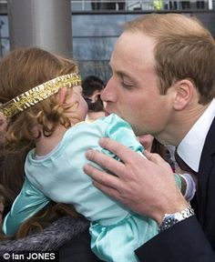 Prince William in Scotland on an official visit, April 4, 2013. This little girl, Shona, recoils as Prince William goes in for a kiss. She doesn't care if he's a Prince! ;)